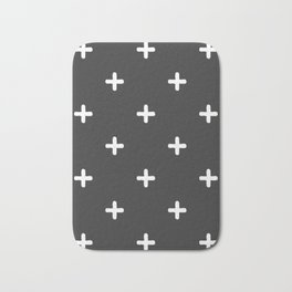 White Crosses on Charcoal Grey Bath Mat