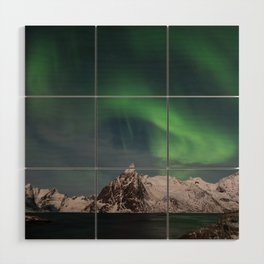 Northern Lights Over Lofoten Wood Wall Art