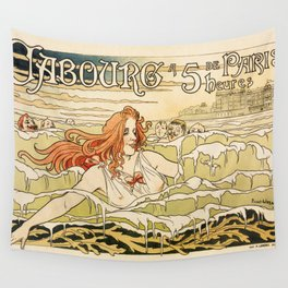 Cabourg Paris Beach art nouveau travel ad Wall Tapestry