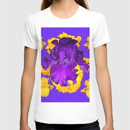 Decorative Modern Purple Iris Color Golden Pattern  Art #2 T-shirt