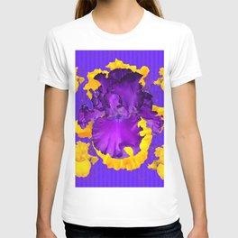 Decorative Modern Purple Iris Color Golden Pattern  Art #2 T-shirt