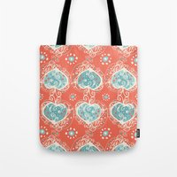 nordic Tote Bags featuring Nordic Heart by Sarah Doherty