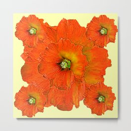 ORANGE DOUBLE  HOLLYHOCK FLOWERS YELLOW GARDEN Metal Print