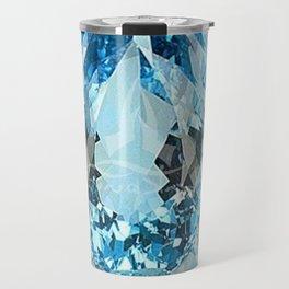 March Babies Blue Aquamarine Gems Abstract design. Travel Mug