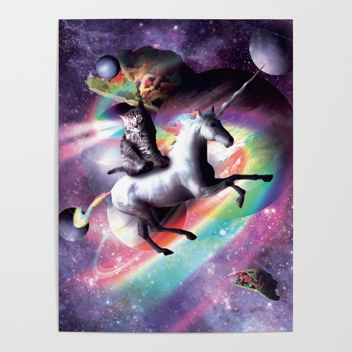 Space Cat Riding Unicorn Laser Tacos And Rainbow Poster