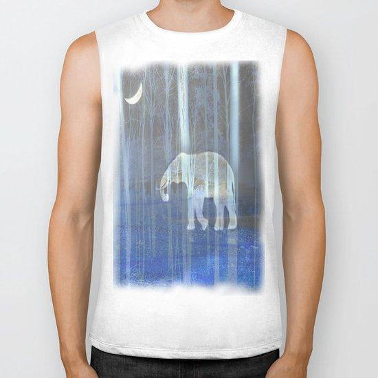 Moonlight with elephant Biker Tank