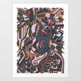 Wandering Abstract Line Art 44: Orange Art Print