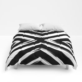 Minimalistic Black and White Paint Brush Triangle Diamond Pattern Comforters