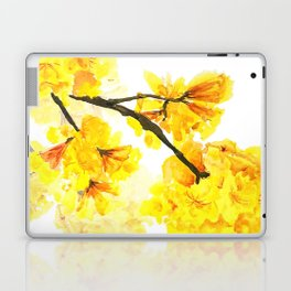 yellow trumpet trees watercolor yellow roble flowers yellow Tabebuia Laptop & iPad Skin