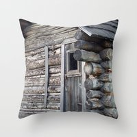 cabin Throw Pillows featuring Cabin by courtney2k ⚓ design™