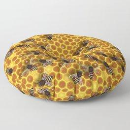 Honeycomb bee background illustration seamless pattern Floor Pillow