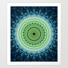 Mandala in different blue and green tones Art Print