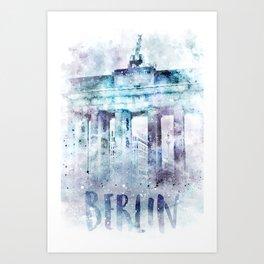 Modern Art BERLIN Brandenburg Gate | jazzy watercolor Art Print