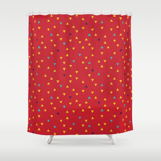 down up ketchup mustard baby blue cassis shower curtain by