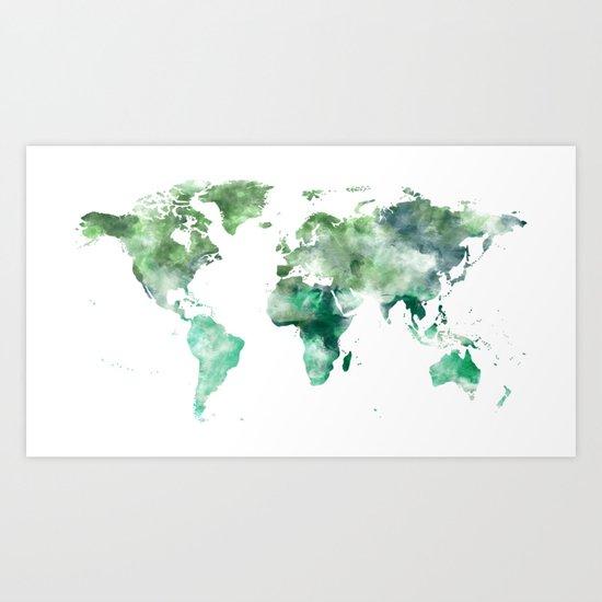 World Map Emerald Green Earth Art Print