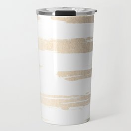 Simply Brushed Stripe White Gold Sands on White Travel Mug