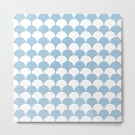 Fan Pattern 321 Pale Blue Metal Print