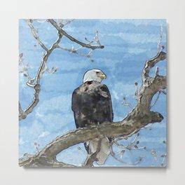 Watercolor Bald Eagle Metal Print