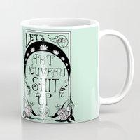 art nouveau Mugs featuring Art Nouveau by Emily Brand
