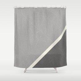 Grey Geometric Split by Diagonal White Line Shower Curtain