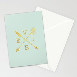 VIBE - Feather Arrow Cross - GOLD Stationery Cards