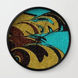Aqua, Brown, and Gold Mosaic Wall Clock