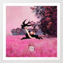 Pink Whimsical cute rabbit, bird vector on field collage Art Print