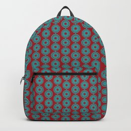 turquoise and vermilion flower Backpack