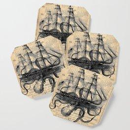 Octopus Kraken attacking Ship Antique Almanac Paper Coaster