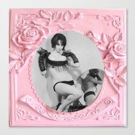 Femme Fatale - Pin Up - Pastel Pink Frame - Roses  Canvas Print