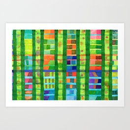 Colored Fields With Bamboo Art Print