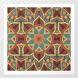 Blue & Brown Boho Floral Pattern Art Print