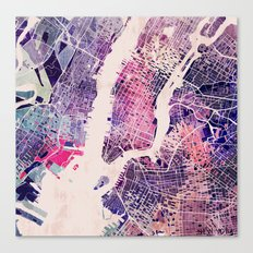 New York Mosaic Map #1 Canvas Print