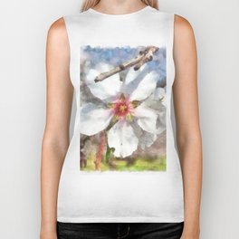 Almond Blossom Study Watercolor Biker Tank