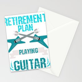 Retired Men Plays Guitar Stationery Cards
