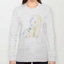 Mother and Baby Polar Bears Watercolor Long Sleeve T-shirt