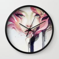 decorative Wall Clocks featuring Bauhinia by Anna Dittmann