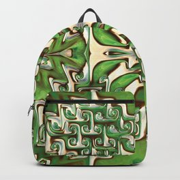 Green and Cream Spiral Bends Backpack