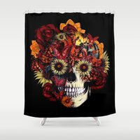 ohm Shower Curtains featuring Full circle...Floral ohm skull by Kristy Patterson Design