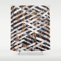 darren criss Shower Curtains featuring criss cross by Chelhsea Jefferson