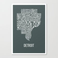 Detroit typography map poster - Slate Canvas Print