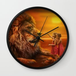 Lion twins | Lion et jumelles Wall Clock