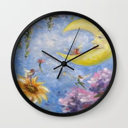 Moon and Fairies Wall Clock