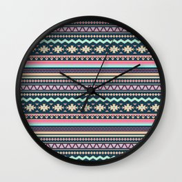 Colorful Aztec Tribal Pattern Wall Clock