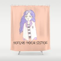 sisters Shower Curtains featuring sisters by Megan Rhiannon