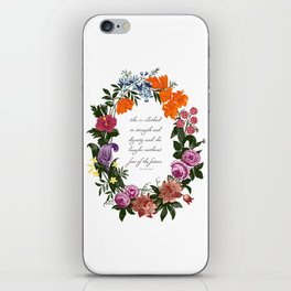 She is Clothed in Dignity and Strength and She Laughs without Fear of the Future iPhone Skin