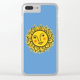 Sun on blue Clear iPhone Case