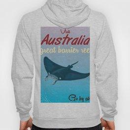Australia great Barrier Reef Stingray vintage travel poster Hoody