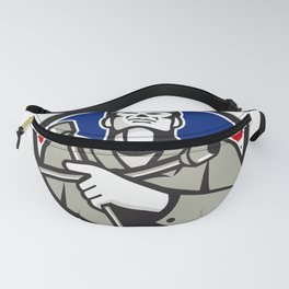 British Tyre Technician Lug Wrench Union Jack Flag Circle Icon Fanny Pack