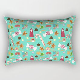Christmas Sweeties Candies, Peppermints, Candy Canes and Chocolates on Aqua Rectangular Pillow